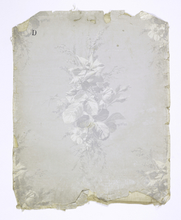 Grisaille full-blown roses and other flowers in isolated clusters. Printed on a light gray background over a white satin ground.