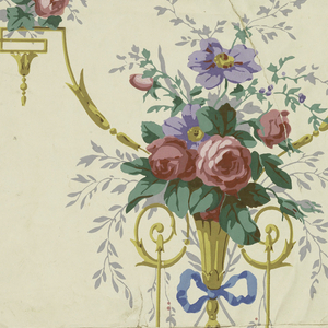 On white ground brightly-colored delicate scrollwork, vase of flowers from which, on blue ribbon, hang loops with birds; other birds on twigs.