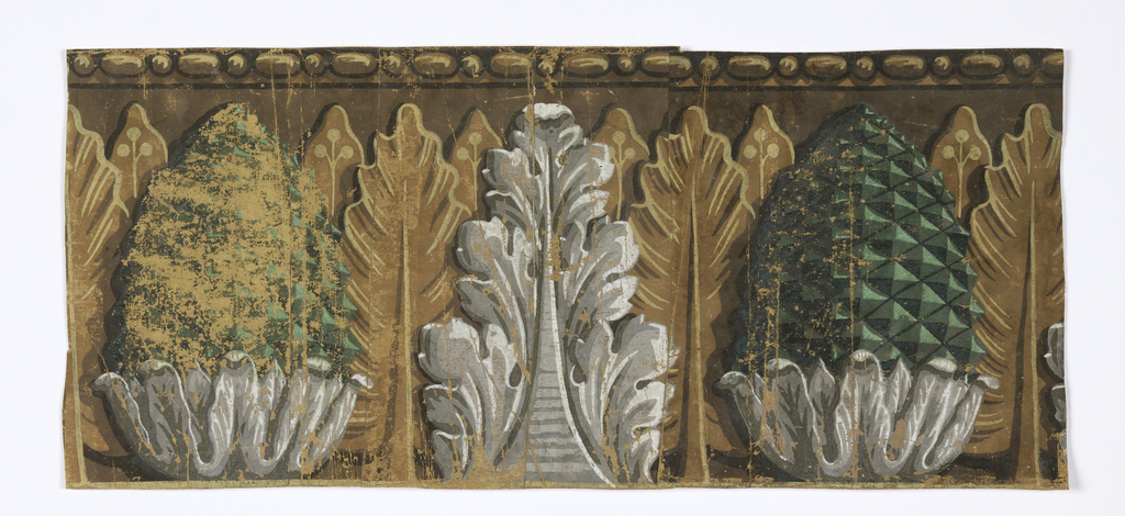 Large-scale acanthus leaf and pineapple motifs, printed in front of row of leaves, with beaded top band.