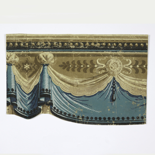 "Drapery frieze with lower edge cut to follow folds. A head molding decorates the upper edging, dots and stripes on the ""hem"". Printed in beige, tan, brown, black and blues."
