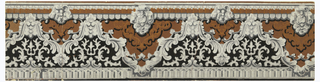 A rococo molding design with edging of dentils and scallops, and a bead string on the top band. The central band alternates a zig-zag foliage garland with floral medallions and stylized floral ornaments. Printed in terra cotta, gray and black.