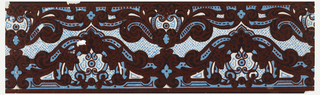 The design consists of two undulating strands of Rocaille medallions and scroll-work. The background is powdered with a pattern of dashes. Printed in maroon flocking, brick, blue and white on a polished gray ground.  H# 59