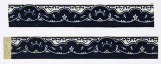 The flat, two-dimensional design of this border consists of stylized motifs: rounded mustace-shaped garlands connected by oval ornaments; printed in black, gray and white with blue flocking.  H# 38