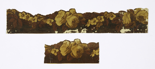 Cut-out border with yellow roses and other flower and rust-colored leaves.