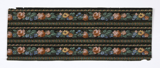 3 widths of narrow passementerie border on black ground between rope and gimp edgings.  Machine printed flowers in red, pink, blue, orange with green foliage.