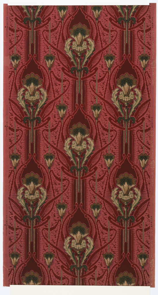 """Art Nouveau style. Thick floral medallion stripes alternating with two thin floral stripes. Ribboning design and background of irregular dots/splotches over regular small black dots on a dark pink ground. Printed in reds, pinks, greens, and yellows. Printed in right selvedge (ribbon): """"402 Chase Print"""""""