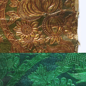 Embossed design of birds, fruit, flowers and leaves. Printed in metallic gold and metallic lime green.