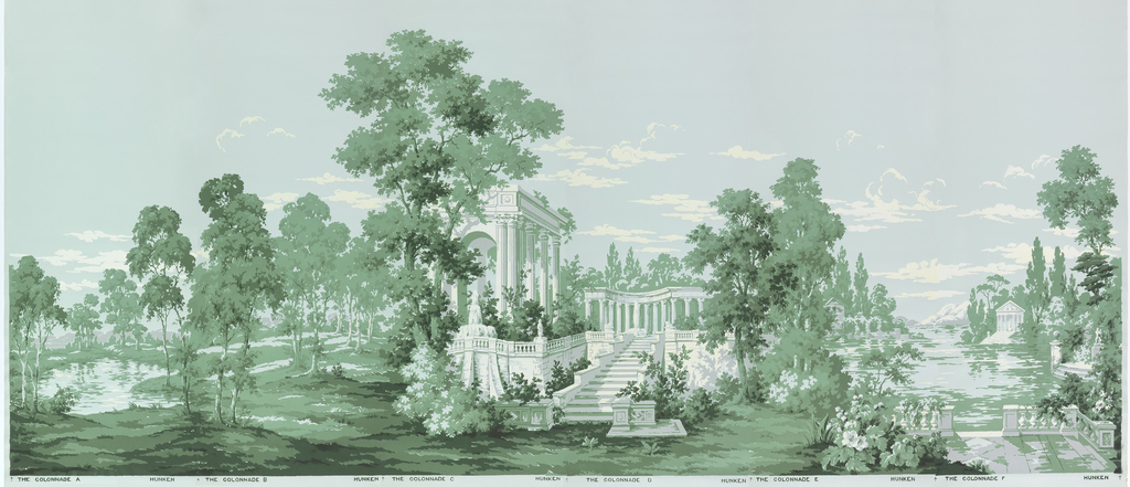 """Colonnade"" illustrates a woodland scene containing a variety of trees, a lake and distant mountains. Architectural monuments include a colonnade and other classically inspired structures, stone balustrades, patios and a fountain. Screen printed with 4 shades of green, gray and white, with airbrushed black accents, on a blue ground. This is a full set of six panels."