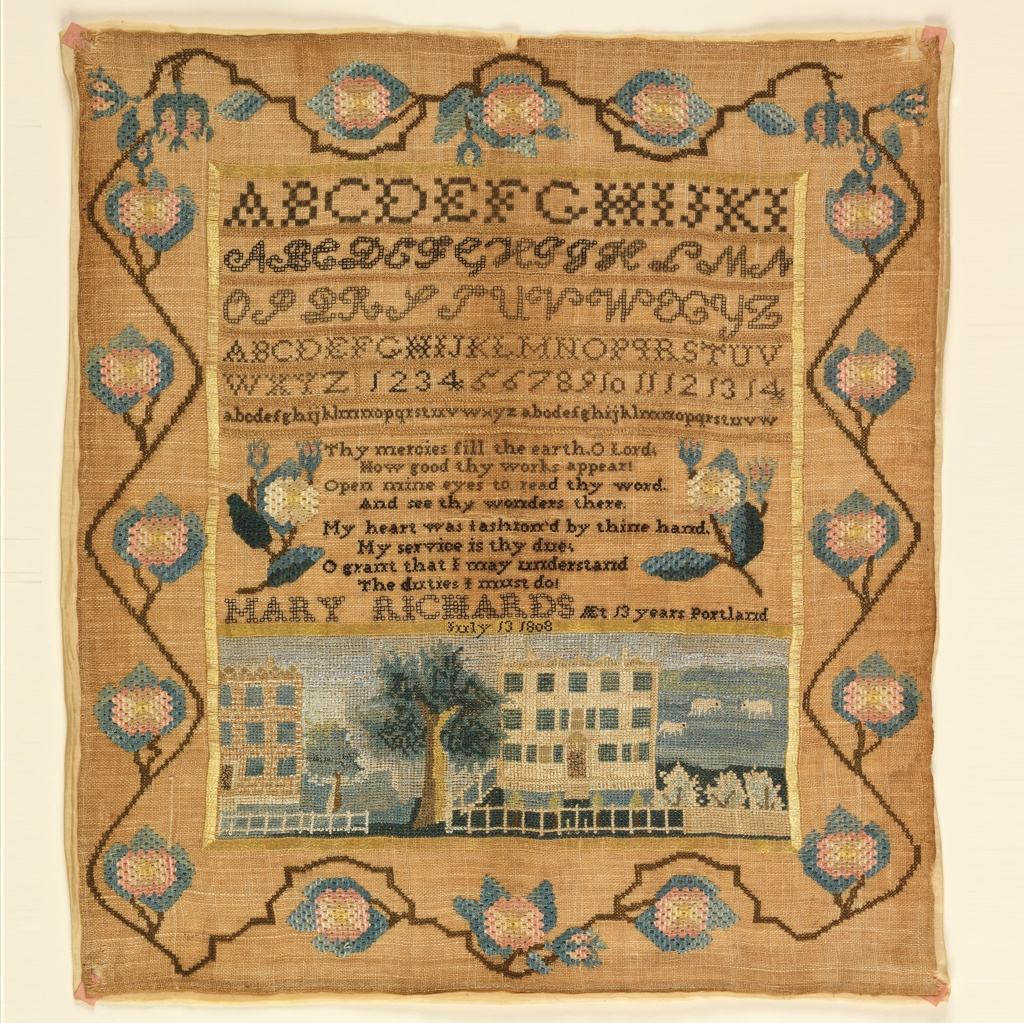 Four sets of alphabets and one set of numerals in the upper third; a verse and inscription in the middle third; and a landscape with large brick houses, trees, and sheep in the lower third. With a deep floral vine border. Embroidered in colored silks on a natural linen ground. The verse reads:  Thy mercies fill the earth, O Lord, How good thy works appear! Open mine eyes to read thy word. And see thy wonders there.  My heart was fashioned by thine hand. My service is thy due: O grant that I may understand The duties I must do.