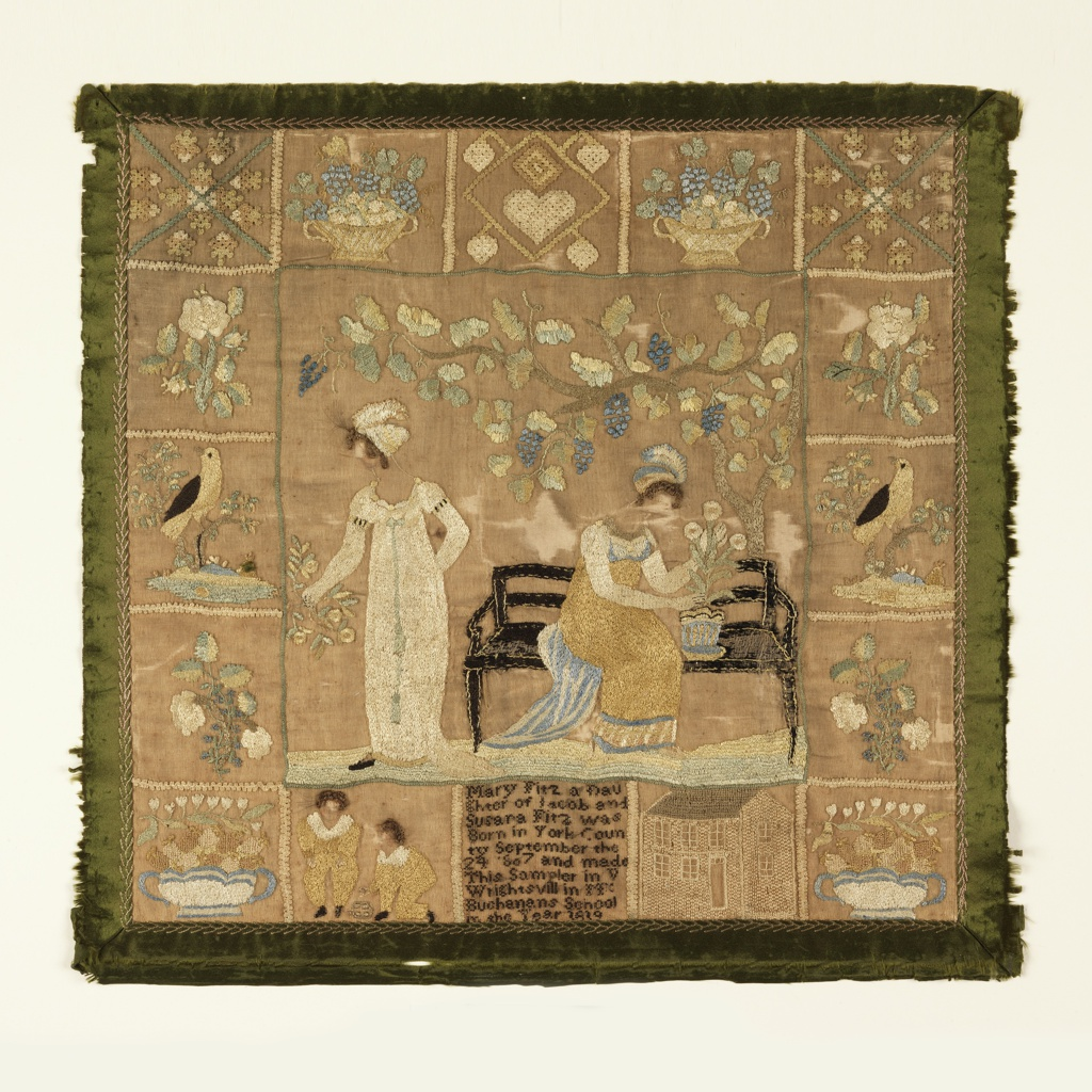 Central scene of two women, one standing, and one seated on a bench beneath a grape arbor. Border of sixteen squares containing birds, flowering sprays, baskets of flowers, boys at play, a house, and, at the bottom center, the inscription. With a border of green silk ribbon.