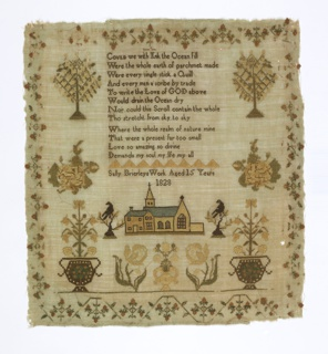 A verse and inscription with a church below are flanked by motifs symmetrically arranged: fruit trees, roses, urns with flowering plants. Surrounded on four sides with a delicate strawberry vine border.  The verse reads:  Could we with Ink the Ocean fill Were the whole earth of parchment made Were every single stick a Quill And every man a scribe by trade To write the Love of GOD above Would drain the Ocean dry Nor could this Scroll contain the whole Tho stretcht from sky to sky Where the whole realm of nature mine That were a present far too small Love so amazing so divine Demands my sould my life my all