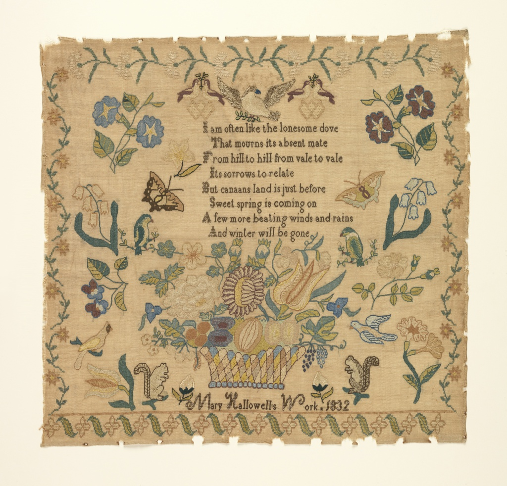 Large basket of flowers with scattered motifs including birds, squirrels, butterflies, and floral sprays, with a verse and inscription; the border is made up of four different floral patterns. The verse reads:   I am often like the lonesome dove That mourns its absent mate From hill to hill from vale to vale Its sorrows to relate But canaans land is just before Sweet spring is coming on A few more beating winds and rains And winter will be gone