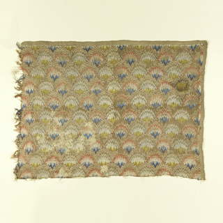 fragment of flame stitch embroidery in silk on jute ground. Worked in shades of pink, blue, yellow, tan, and white.