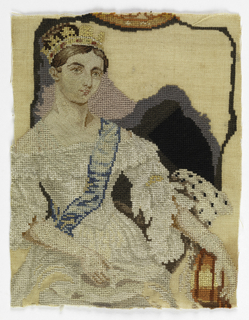 Portrait of Queen Victoria as a young woman, possibly at her coronation in 1837.  Unfinished.