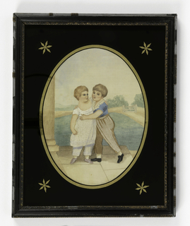 Picture of two small boys embracing each other on the steps of a building in a rural landscape in pastel colors. Only the boys clothing is embroidered, the rest is painted. Framed, with a black eglomisé mat in oval shape with gold stars in corners.