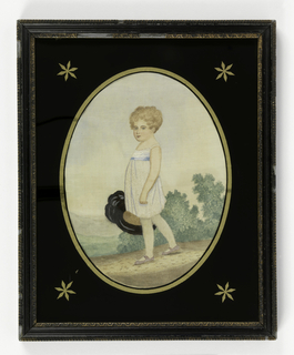 Painted and embroidered picture of a young boy in a white dress with a blue sash and carrying a large black hat, standing in a landscape. Framed with black eglomisé glass in oval form, with gold stars in corners.