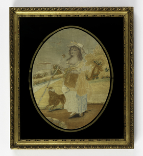 Oval picture of shepherdess carrying crook and basket in a rural landscape with a sheep at her feet. With gold rectangular frame with black eglomisé glass