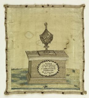 Embroidered picture, nearly square in format, depicting an urn on top of a tomb bearing an inscription in an oval medallion: 