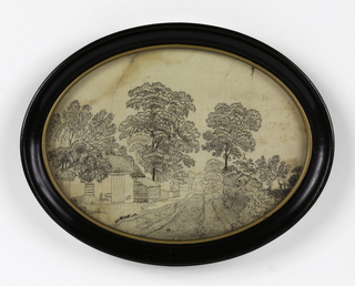 Black and white silk embroidery of trees and rural buildings; some of the embroidery has worn away.