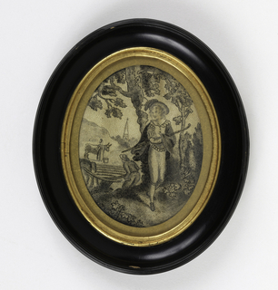 Figure of a youth standing in a pastoral landscape with a man plowing, a church, and a woman with a cow in the distance all embroidered in black silk.