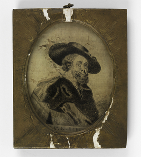 """A three-quarter frontal portrait of a man in a large hat with a cloak draped around his shoulders, """"Sr. Pr. Pl. Rubens"""", embroidered all in black."""