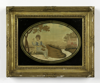 Scene of a boy holding a bird's nest in his lap with one bird perching on his finger, in a rural landscape.