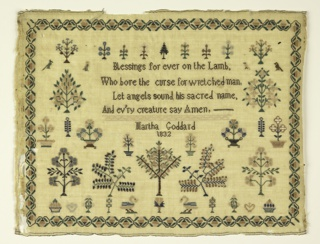 A verse and inscription at the center, surrounded by trees, flowering trees, birds and animals, with a strawberry vine border. The verse reads:  Blessing for ever on the Lamb Who bore the curse for wretched man Let angels sound his sacred name and ev'ry creature say Amen