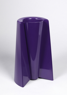 Purple, molded cone-shaped form with narrow circular mouth at one end and wide curved opening at other, to form a reversible vase.