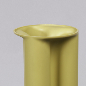 Tan cylindrical vase composed of three columns with plain base and everted rim.