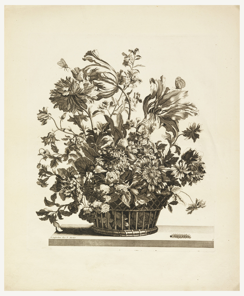Print, Basket with Flowers on a Table, Plate 8 from the series Livres de plusieurs paniers de fleurs [Flowers in a Basket]