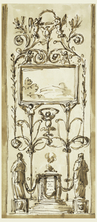 Below, in the center, is a circular altar; beside it are two figures upon bases. They are connected with the altar by a festoon and with each other by a hemicycle. Upon the latter stand two gaine candelabra with winged busts on top which support the oblong frame of a landscape. Beside it are stems rising from scrolls of the candelabra, dividing above into scrolls. Above, are two half figures raising a wreath over an eagle. Two putti stand upon the frame.