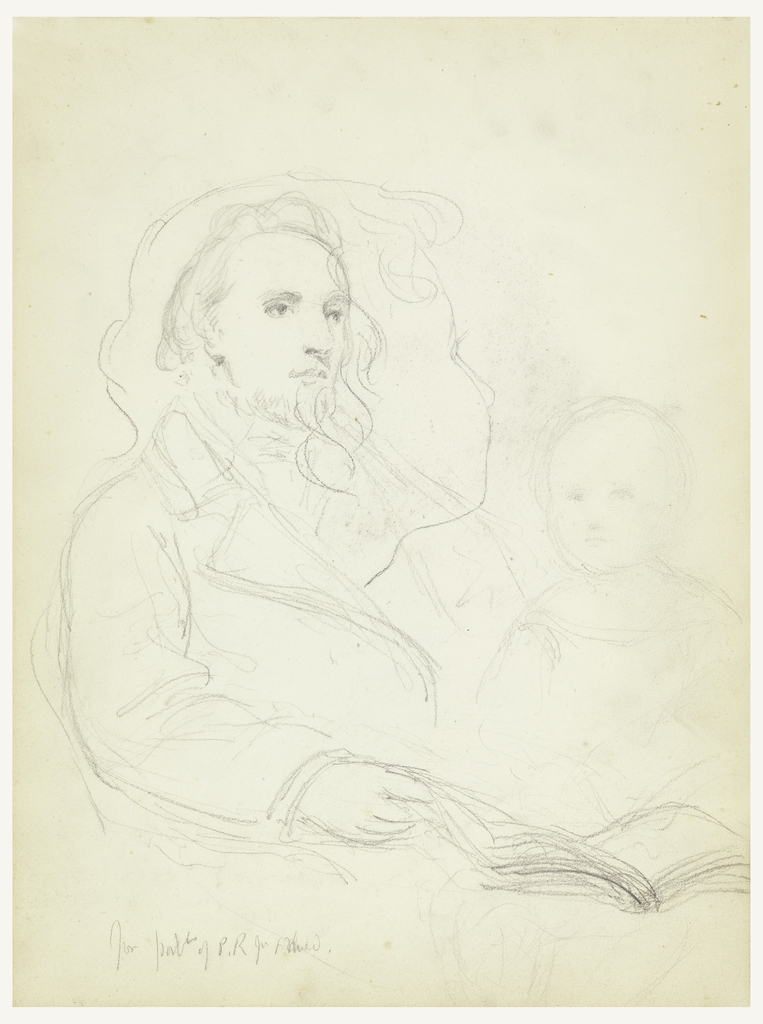 """Man seated in an armchair, turned toward the right, an open book in his right hand. Bust of a child facing frontally, right, and a head of a child (see verso) superimposed. Center, name of man, lower left. Verso: Head of a child: """"Charlie: for """"Lesson of Charity,"""" facing away, left. Name and date on lower right."""