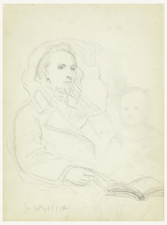 "Man seated in an armchair, turned toward the right, an open book in his right hand. Bust of a child facing frontally, right, and a head of a child (see verso) superimposed. Center, name of man, lower left. Verso: Head of a child: ""Charlie: for ""Lesson of Charity,"" facing away, left. Name and date on lower right."