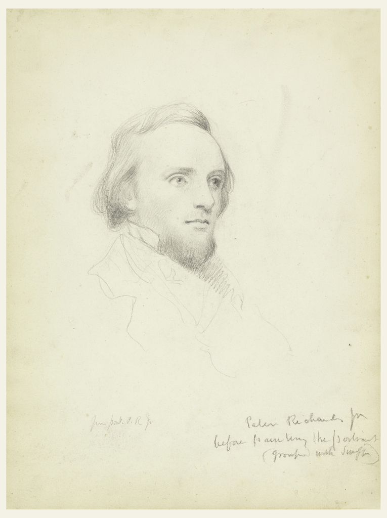 Young man with a short beard, facing halfway towards the right. His collar is suggested in outline. Name and note, lower right.