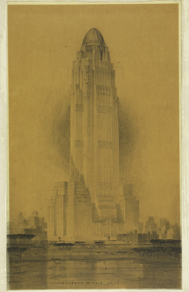 Perspective design for a skyscraper. Smaller masses flank a tall shaft with a dome-like terminus above.