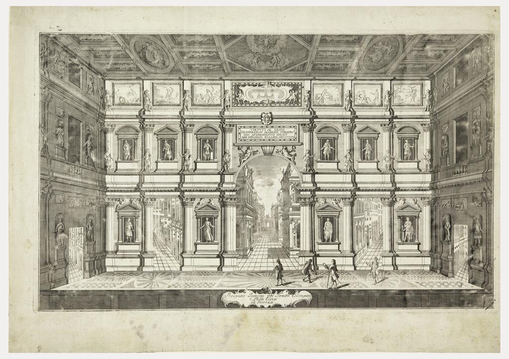 Print, Prospetto Interno del Teatro Olimpico Nella Citta di Vincenza (View of the Stage of the Teatro Olimpico at Vicenza)