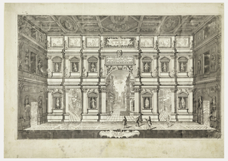 View of the mise-en-scene of the Teatro Olimpico at Vicenza, erected in 1579 by Andrea Palladio (1518-1580), and completed by Vincenzo Scamozzi (1552-1616).  Four sightseers are shown on the stage. Within the stage design, a barrel vault opening to a street with buildings. Niches along the stage wall contain statues of figures.