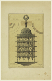 Design for a mosque lamp. Design, pictured center, is comprised of a plate-like disk, multi-sided metal body perforated with designs, and a domed top.