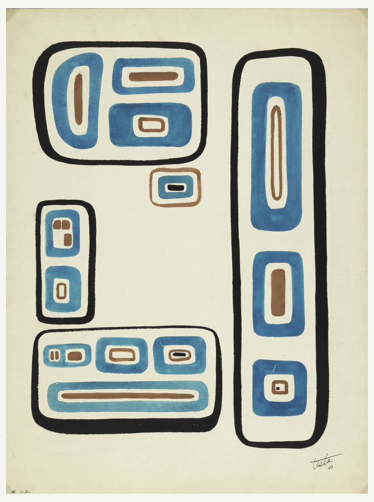 Five cartouche-like fields of bold ornament based on North West Pacific Indian motifs.  At upper left a mask-like face on its side, in large horizontal field, at lower left a similar mask facing the viewer in large horizontal field. Along right edge, a thin vertical field, resembling totum pole, with two vertical and one square motif inside.  A small vertical cartouche at center left and a small horizonal cartouche at center. This design makes one full repeat.