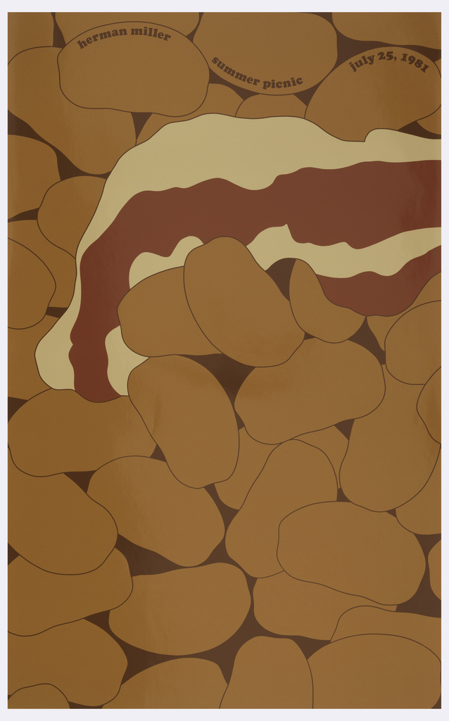 "On brown background, orange potatoes, light yellow cheese, and red tomato sauce appear as vaguely naturalistic organic shapes. Inscribed on top: ""herman miller summer picnic july 25, 1981""."