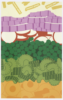 "Various stylized vegetables layered over each other in a salad. Top to bottom: potato fries, red onions, radishes, peas, zucchini, carrots. Inscribed at top: ""herman miller summer picnic july 31, 1982""."