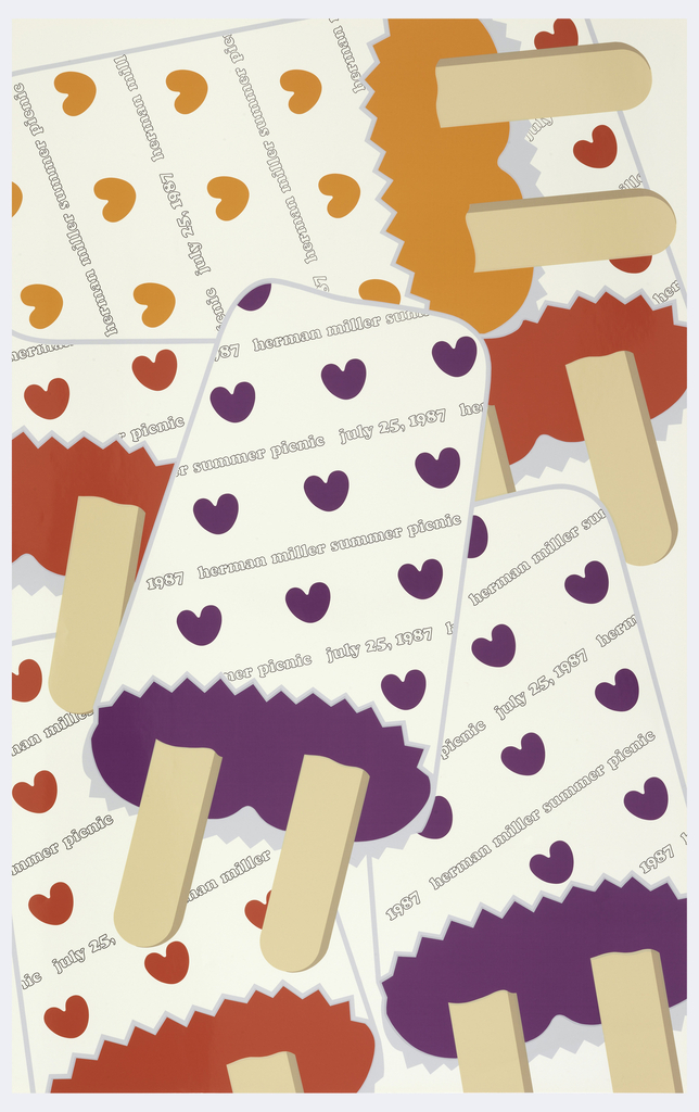 "On white background, a random arrangement of six different-colored ice-creams on  sticks in red, orange, and violet, wrapped in white paper patterned with hearts the color of the ice-cream inside, and inscribed with the words, ""july 25, 1987 herman miller summer picnic""."