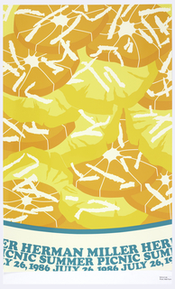 "Imitating cellophane food packaging, an image of orange and yellow dried fruit, curved down towards center, and inscribed in blue on white field at the bottom, in a band: ""HERMAN MILLER [repeated] / SUMMER PICNIC [repeated] / JULY 26, 1986 [repeated]""."