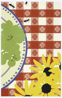 "The background is a red-and-white  tablecloth with checker and clover patterns, on which is arranged a white plate with blue stripes, holding green grapes. Yellow daisies are in the lower right corner, while in the upper right, are three ants. The plate with grapes is inscribed with ""HERMAN MILLER SUMMER PICNIC 1985""."