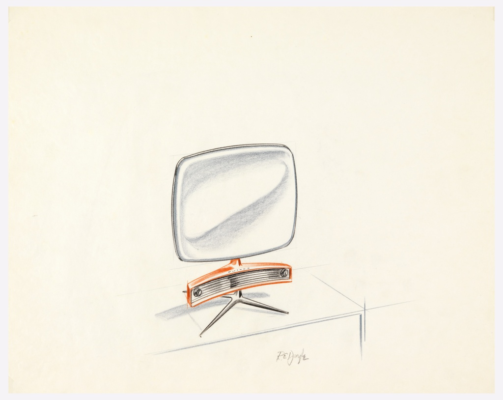 Television with rounded corners and dials with speaker in curved rectangular shape below it on a three-legged stand.