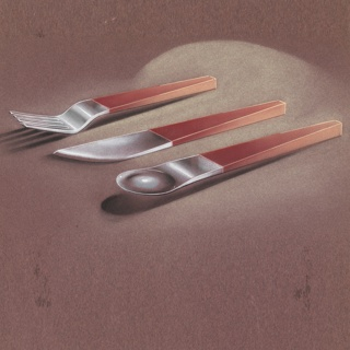 Fork, knife, and spoon with brick-colored handle and metal ware.