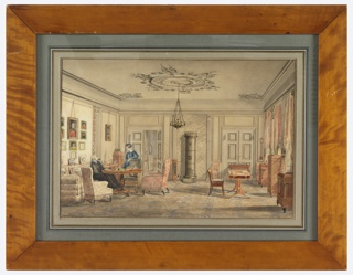 Sitting room in subdued tones of gray, plaster-work ceiling, a metal chandelier suspended from center.  At left, a sofa and three chairs form a conversation group around a pedestal table.  One woman sits on sofa, another stands to her left and leans on an armchair.  A group of portraits hang behind sofa.  A tall metal stove and fire screen at rear center.  Desk and chair in front of windows at right which are draped with red-and-white-stripped textile.  Parital view of room through open door at rear, left.