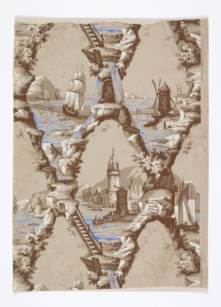 Diaper pattern with landscape vignettes containing boats, windmills and port. Printed in monochrome brown with blue highlights, on taupe ground.