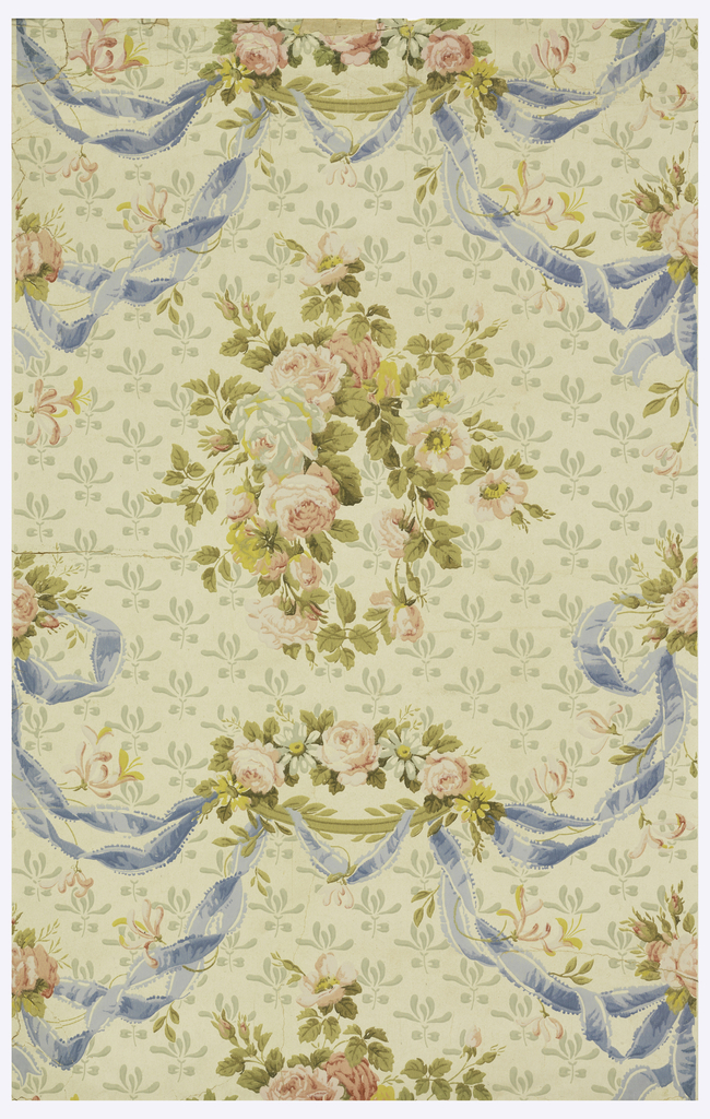 Powdered background of stylized irises on finely-striped embossed paper. Wreaths of roses enclosed by festoons of ribbon caught on branches of roses and daisies. At ends of festoons bowknots hold clusters of roses. Printed in blues, pink, coral, rose, pale aqua, greens and yellow.