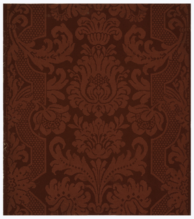 Brocade design with floral motifs, including cross-hatching and strapwork. Printed in burgundy and red.